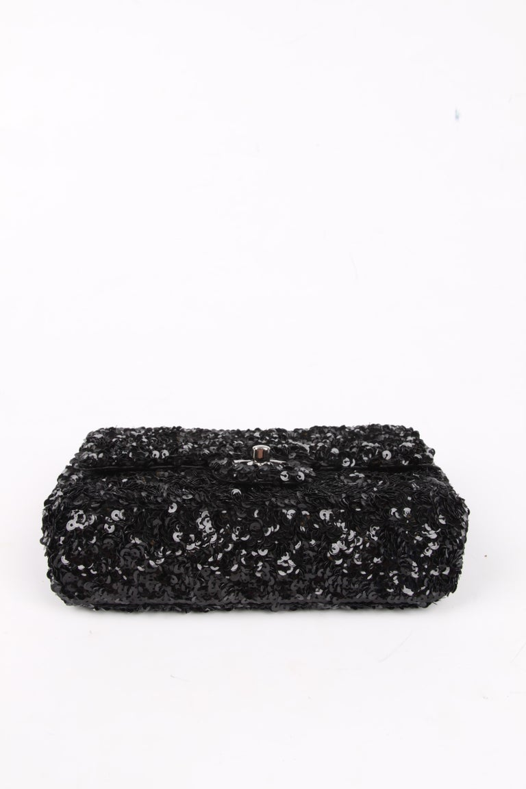 Chanel Classic Sequin Flap Bag - black In Excellent Condition For Sale In Baarn, NL