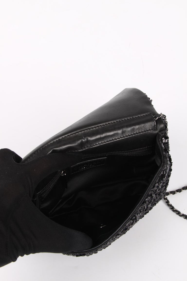 Chanel Classic Sequin Flap Bag - black For Sale 2
