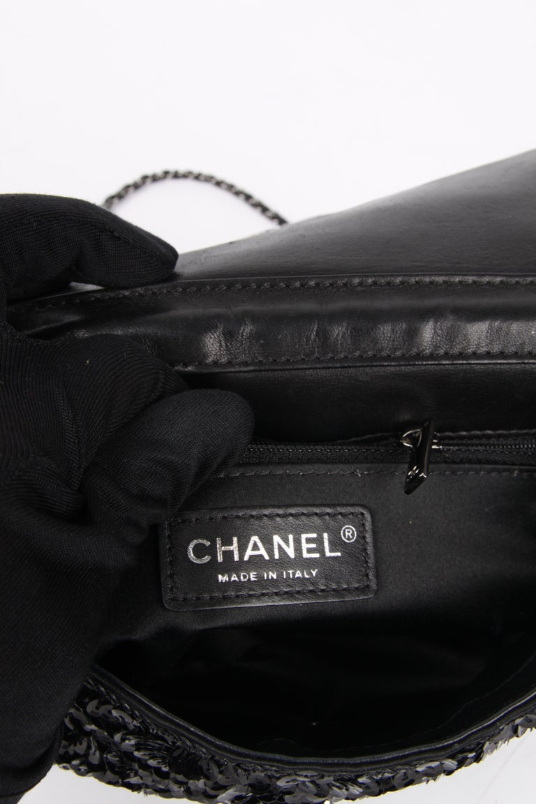 Chanel Classic Sequin Flap Bag - black For Sale 3