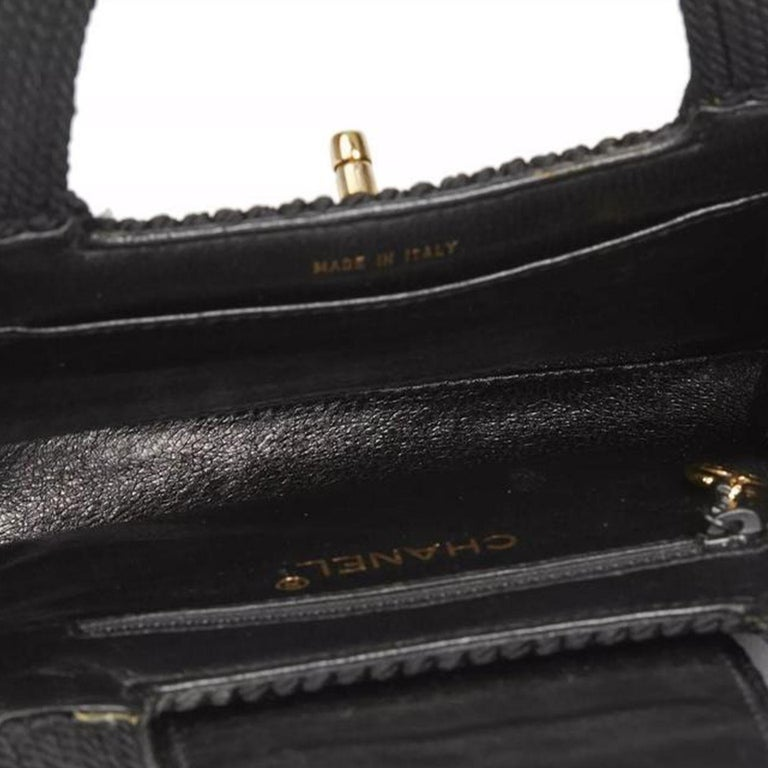 Chanel Classic Silk Woven Top Handle Mini Kelly Flap Black Rope Clutch For Sale 1