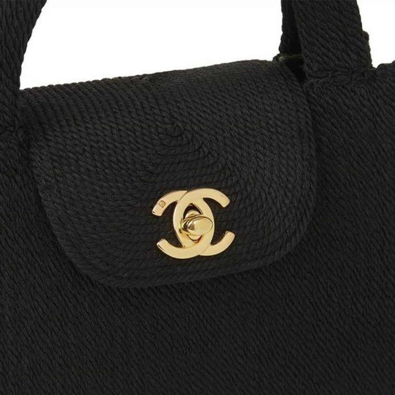 Chanel Classic Silk Woven Top Handle Mini Kelly Flap Black Rope Clutch For Sale 3
