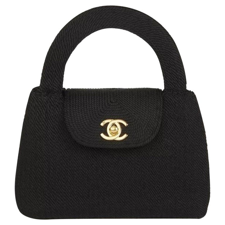 Chanel Classic Silk Woven Top Handle Mini Kelly Flap Black Rope Clutch For Sale