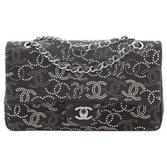Chanel Classic Single Flap Bag CC Studded Canvas Medium