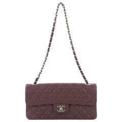 Chanel Classic Single Flap Bag Quilted Caviar East West