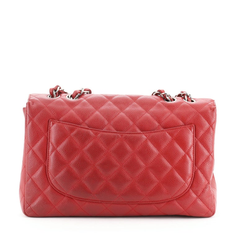 Pink Chanel Classic Single Flap Bag Quilted Caviar Jumbo For Sale
