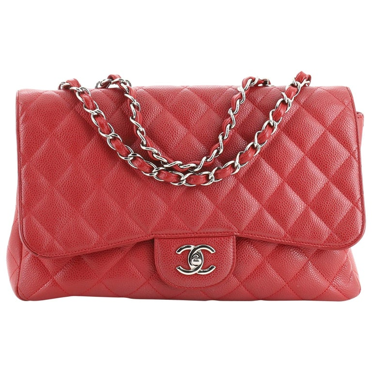 Chanel Classic Single Flap Bag Quilted Caviar Jumbo For Sale