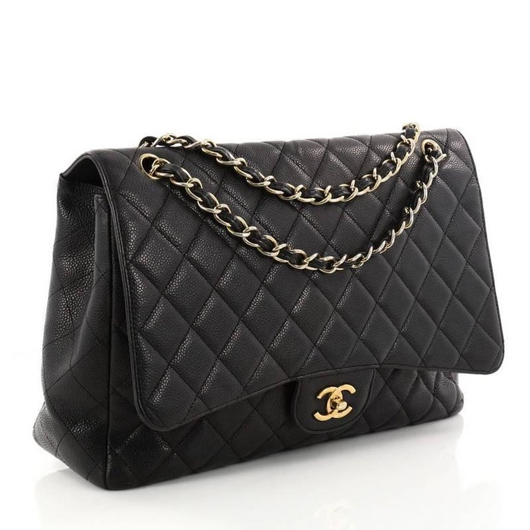 434803c37bd7 Black Chanel Classic Single Flap Bag Quilted Caviar Maxi For Sale