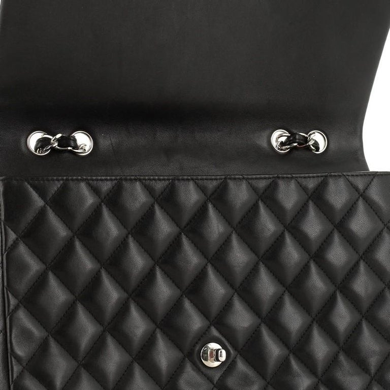 Chanel Classic Single Flap Bag Quilted Lambskin Jumbo For Sale 3