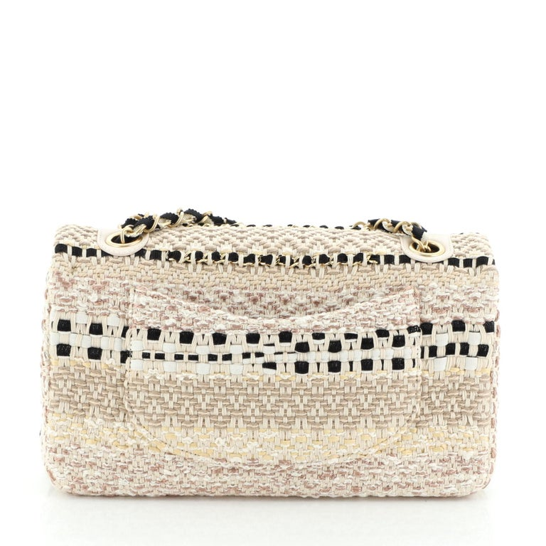 Women's or Men's Chanel Classic Single Flap Bag Woven Cotton and Raffia Medium For Sale