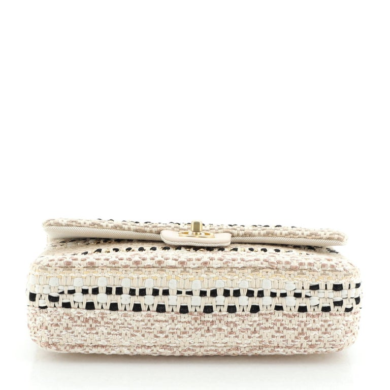 Chanel Classic Single Flap Bag Woven Cotton and Raffia Medium For Sale 1
