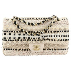 Chanel Classic Single Flap Bag Woven Cotton and Raffia Medium