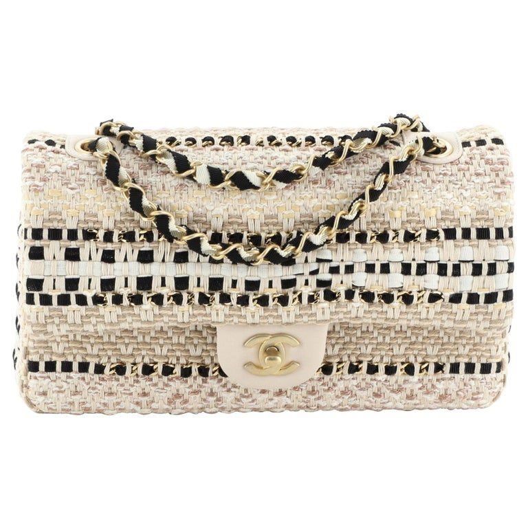 Chanel Classic Single Flap Bag Woven Cotton and Raffia Medium For Sale