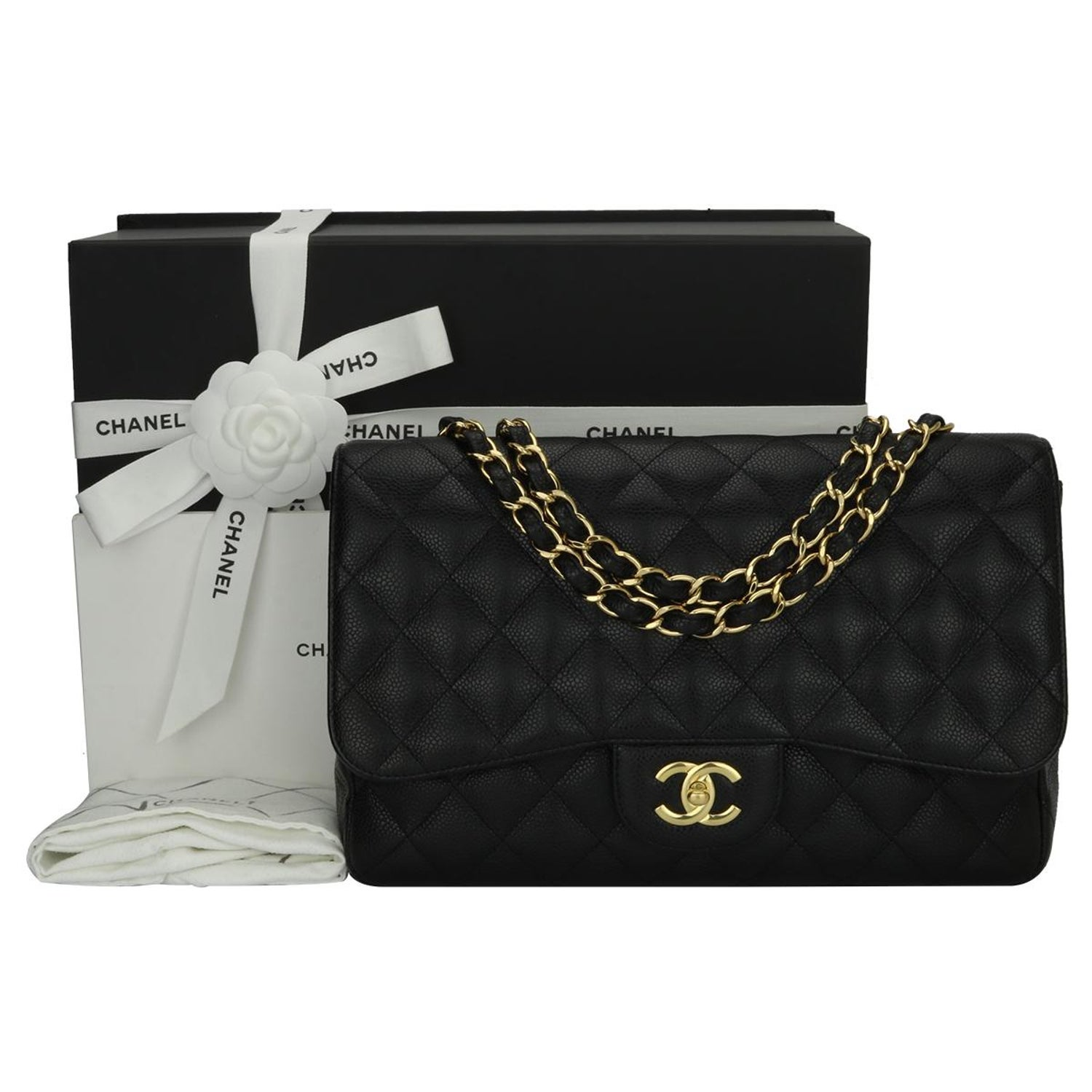a308321e07d1 CHANEL Classic Single Flap Jumbo Black Caviar with Gold Hardware 2009 For  Sale at 1stdibs