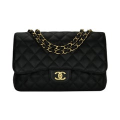 CHANEL Classic Single Flap Jumbo Black Caviar with Gold Hardware 2009