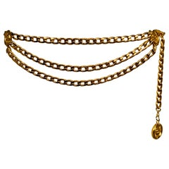 Chanel Classic Three Row Gold Chain Belt with Chanel rue Cambon Paris Medallions