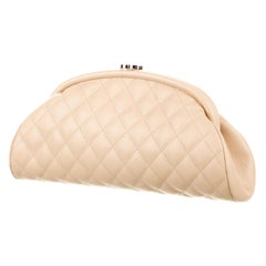 Chanel Classic Vintage Beige CC Diamond Quilted Caviar Timeless Clutch
