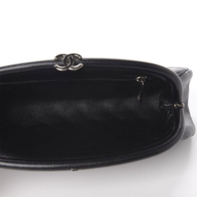 Chanel Classic Vintage Caviar CC Black Diamond Quilted Timeless Clutch For Sale 6