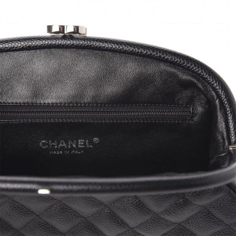 Chanel Classic Vintage Caviar CC Black Diamond Quilted Timeless Clutch For Sale 7