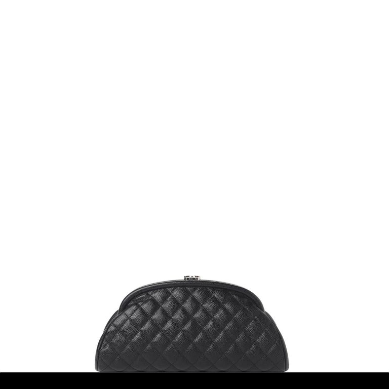 Chanel Classic Vintage Caviar CC Black Diamond Quilted Timeless Clutch For Sale 8