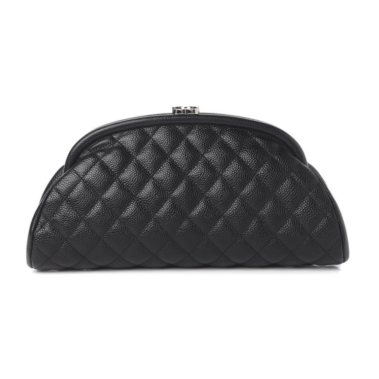 Women's or Men's Chanel Classic Vintage Caviar CC Black Diamond Quilted Timeless Clutch For Sale