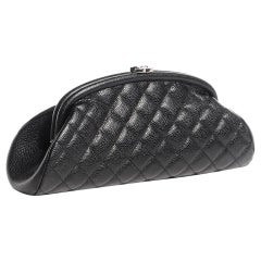 Chanel Classic Vintage Caviar CC Black Diamond Quilted Timeless Clutch