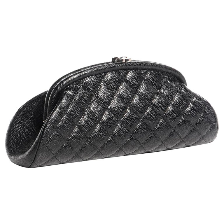 Chanel Classic Vintage Caviar CC Black Diamond Quilted Timeless Clutch For Sale