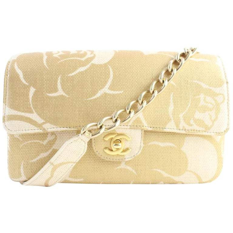 557ade4b0f3e7d Chanel Classic Woven Camellia 5cr0417 Natural X Gold Raffia Straw Shoulder  Bag For Sale