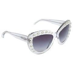 Chanel Clear/Black Gradient 71096 Pearl Cateye Sunglasses