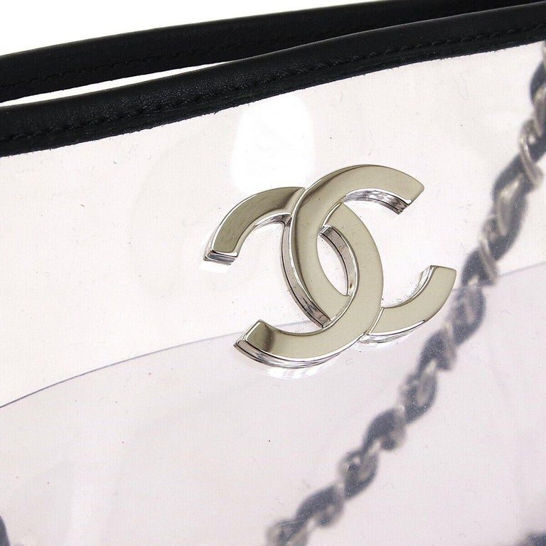 Chanel Clear Black Leather Trim Silver Large Carryall Shopper Shoulder Tote Bag  PVC Leather Silver tone hardware Date code present Made in France Shoulder strap drop 15