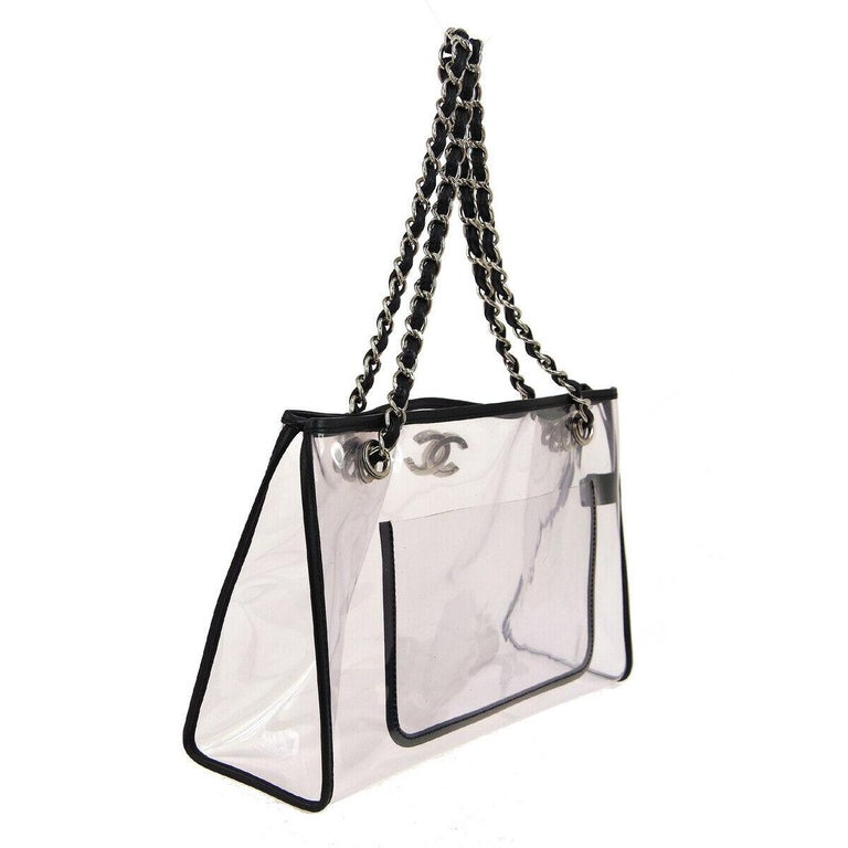 Gray Chanel Clear Black Leather Trim Silver Large Carryall Shopper Shoulder Tote Bag For Sale