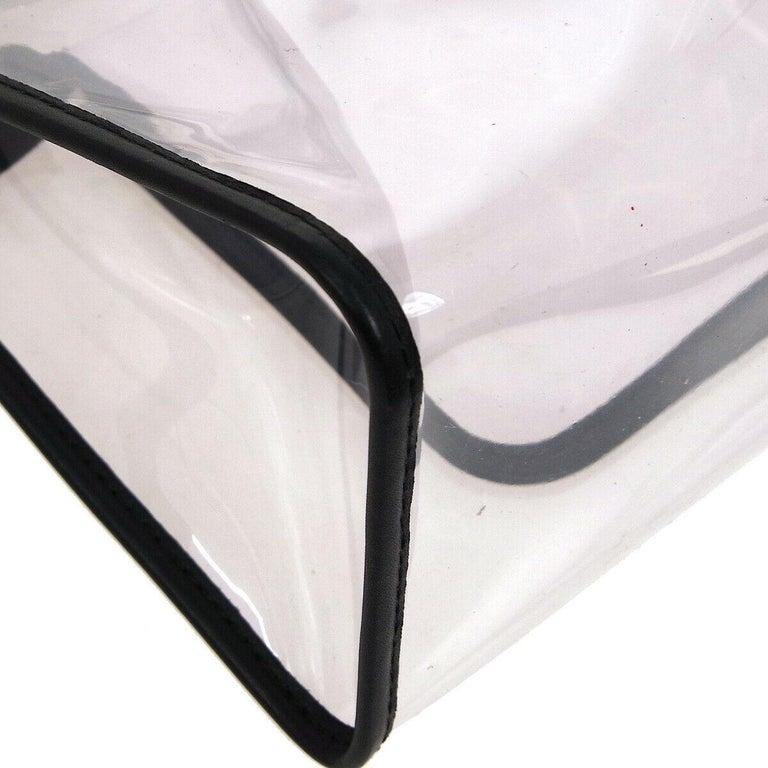Women's Chanel Clear Black Leather Trim Silver Large Carryall Shopper Shoulder Tote Bag For Sale