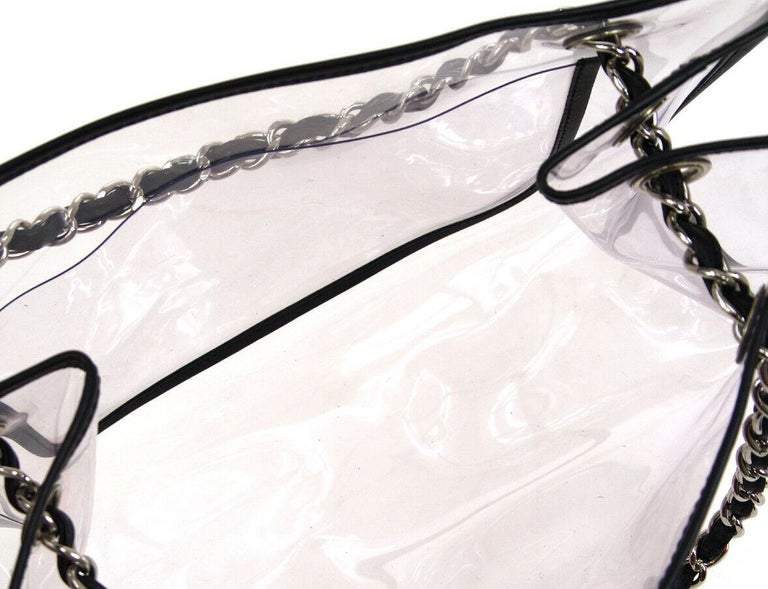 Chanel Clear Black Leather Trim Silver Large Carryall Shopper Shoulder Tote Bag For Sale 1