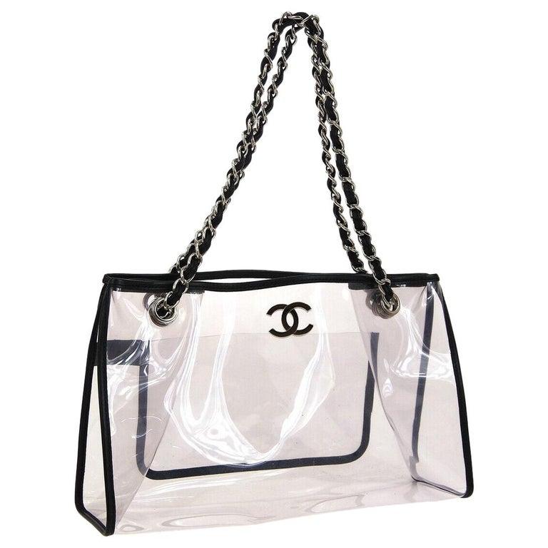 Chanel Clear Black Leather Trim Silver Large Carryall Shopper Shoulder Tote Bag For Sale