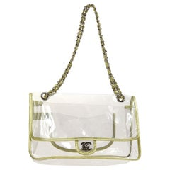 Chanel Clear Gold Leather Trim Evening Shoulder Flap Bag