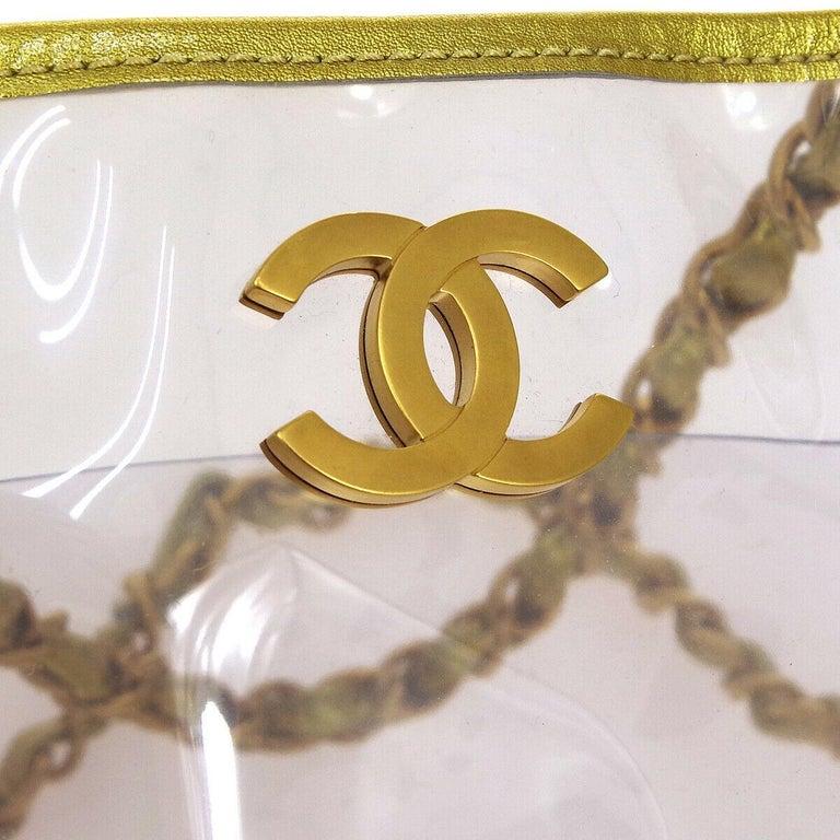 Beige Chanel Clear Gold Leather Trim Large Carryall Shopper Shoulder Tote Bag For Sale