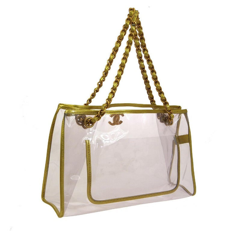 Chanel Clear Gold Leather Trim Large Carryall Shopper Shoulder Tote Bag In Good Condition For Sale In Chicago, IL