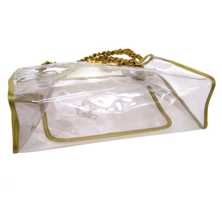 Women's Chanel Clear Gold Leather Trim Large Carryall Shopper Shoulder Tote Bag For Sale