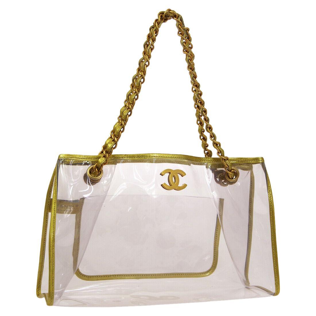 Chanel Clear Gold Leather Trim Large Carryall Shopper Shoulder Tote Bag