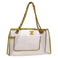 Chanel Clear Gold Leather Trim Large Carryall Shopper Shoulder Tote Bag