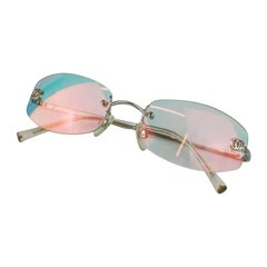 Chanel Clear Holographic Multi Color Tinted CC Gold Rimless Kylie Sunglasses