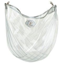 CHANEL clear pvc DROPLET HOBO Shoulder Bag 2018 18P