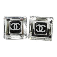 Chanel Clear Transparent Black Charm CC Evening Cube Stud Earrings in Box