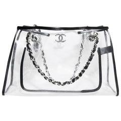 Chanel Clear Vinyl Black Leather Trimmed Medium Carryall Shopper Shoulder Tote