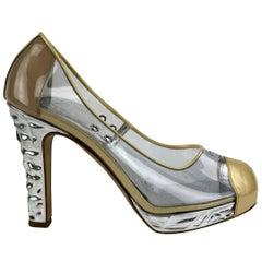 Chanel Clear Vinyl Golden Cap Toe Silver Heels Platform Pumps Size 38
