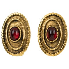 Chanel clip-on Earrings Gilt Metal & Gripoix Ruby Red Poured Glass Cabochon