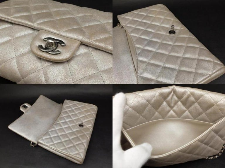 94ecbab35f25 Chanel Clutch Classic Flap Quilted Jumbo Chain 231197 Silver Leather  Shoulder Ba For Sale 2