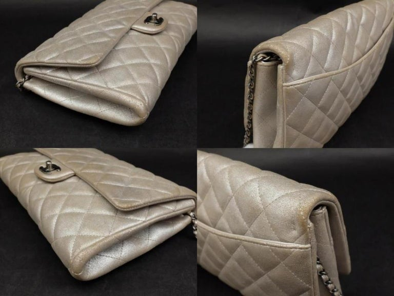dd24beeec68b Chanel Clutch Classic Flap Quilted Jumbo Chain 231197 Silver Leather  Shoulder Ba For Sale 4