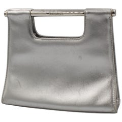 Chanel clutch in silver leather