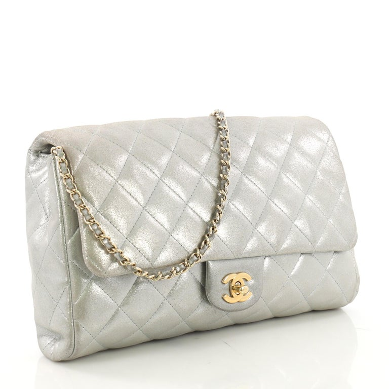 2f9f470b8827de Gray Chanel Clutch with Chain Quilted Pearlescent Calfskin For Sale