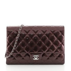 Chanel Clutch with Chain Quilted Striated Metallic Patent